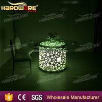 wedding iron led table,round iron wedding glass table