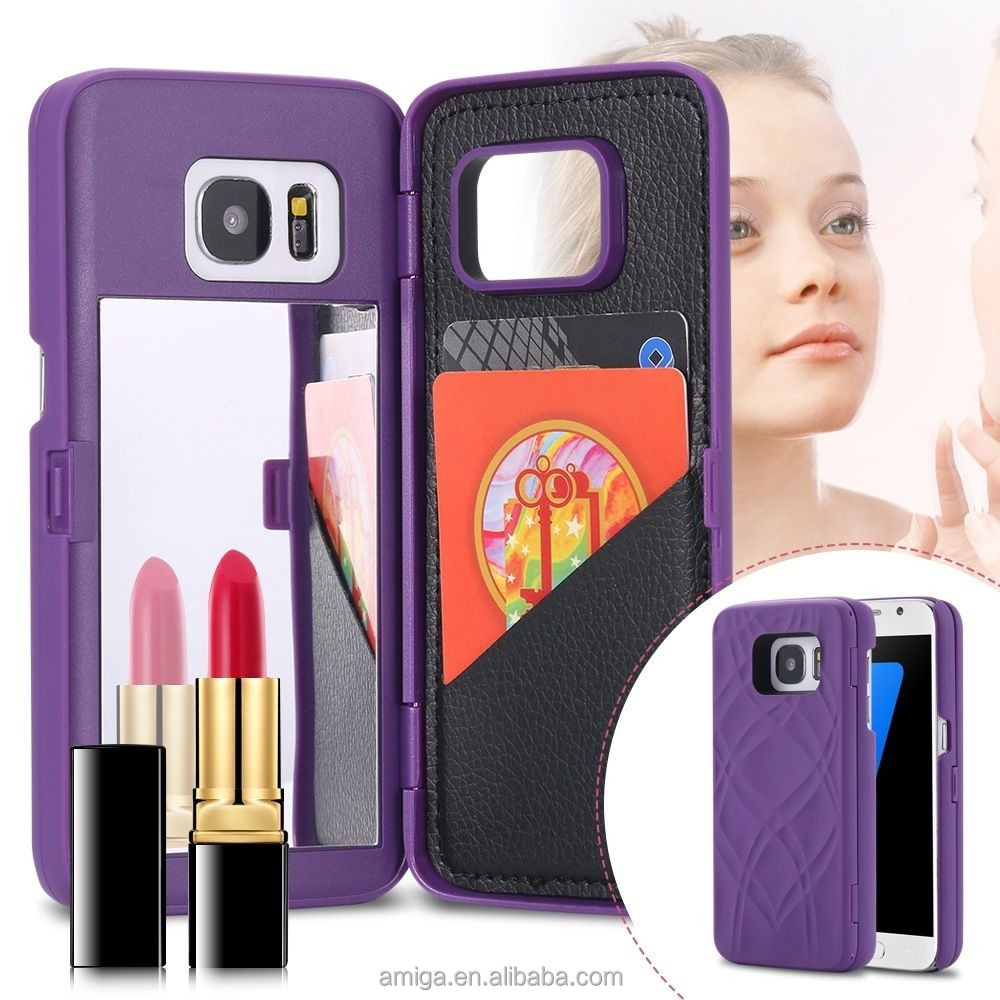 new arrival cosmetic mirror wallet pc case for samsung galaxy S7/S7edge makeup case