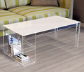 rectangle living room acrylic coffee table with magazine rack