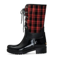 TONGPU High Quality Women Fashion Casual Boots Girl's Water Shoes Ladies Warm Lining Lace-Up Rain Boots
