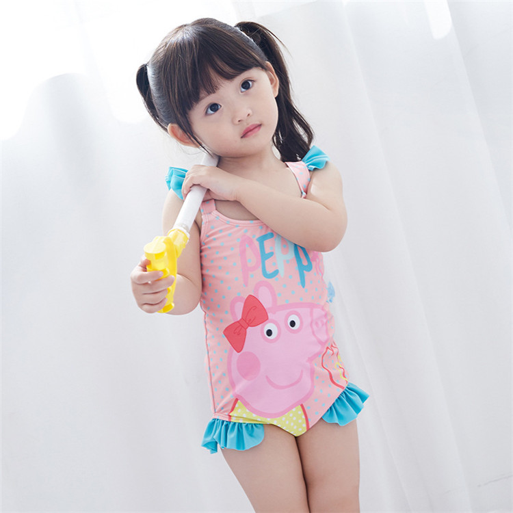 Cute Funny Carton Children Bikinis Quick Dry Kids Swimsuit Pattern Baby Swimsuit