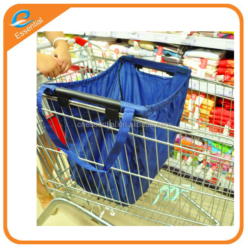 Foldable reusable trolley shopping bag supermarket using