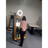 "42"" self photo printing service green screen photobooth magic mirror digital portable photo booth machine"