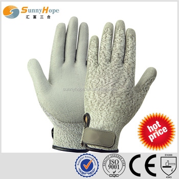 SUNNYHOPE adjustment cuff cut resistant work gloves with PU coated