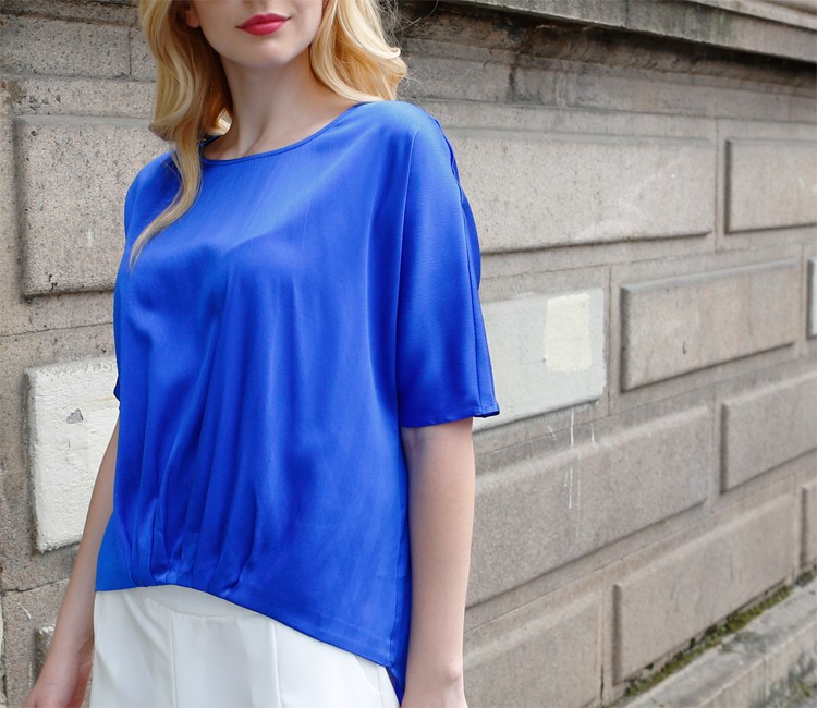 2017 new fashion loose and comfortable real silk short sleeve round neck blouse
