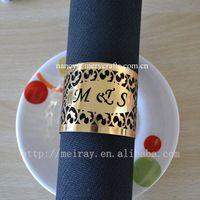 Customized names metallic paper wedding napkin rings wedding centerpieces for table decorations