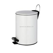 Affordable Shop Household White Round Pedal Garbage Bins commercial trash can
