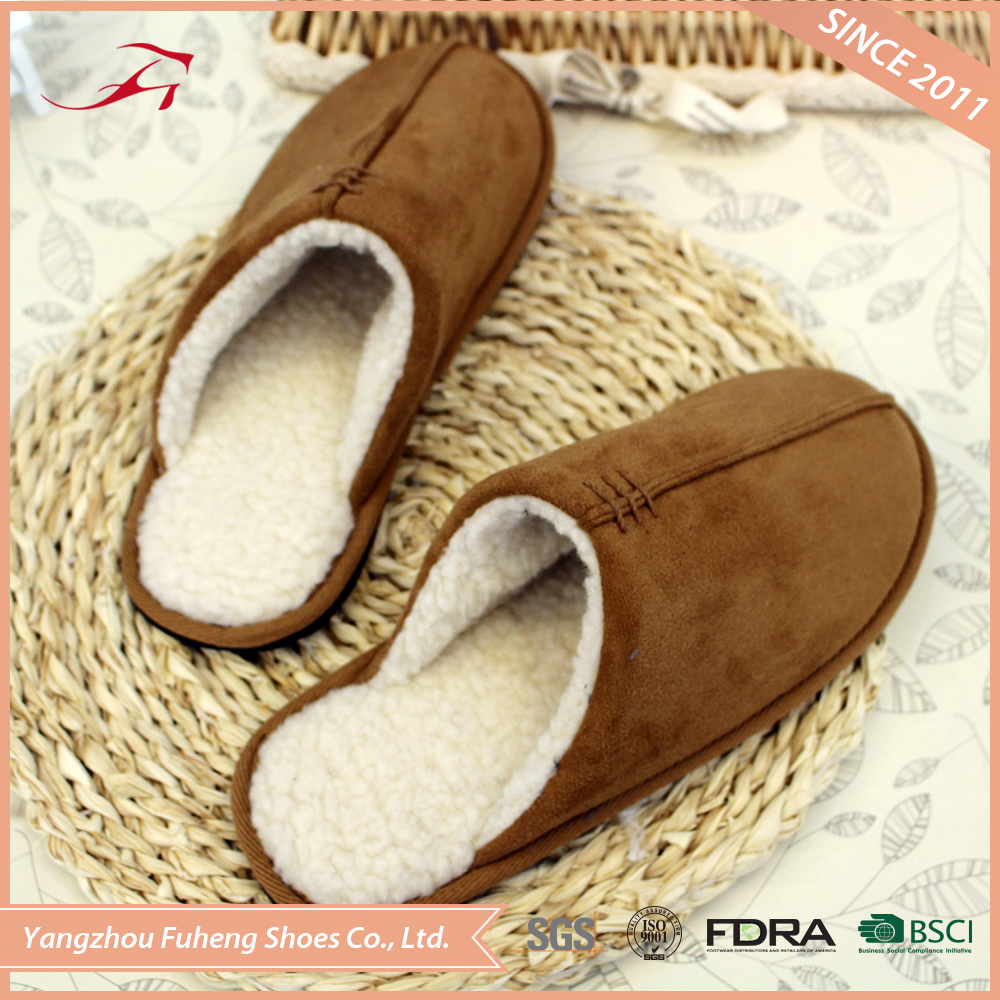 Suede Fabric & Berber Fleece Winter Warm Indoor Men Slippers