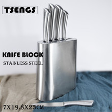5pcs stainless steel kitchen knife set with block holder