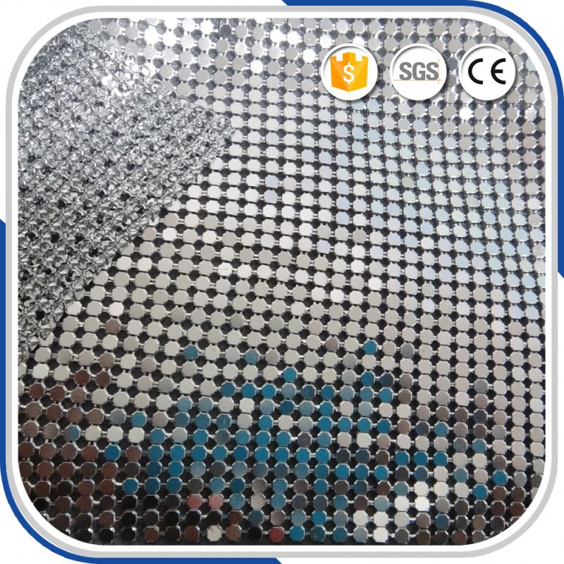 6mm 2016 New Silver Sequin Mesh Dresses Fabric