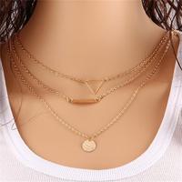 arabic gold jewelry 24 karat necklace multilayer triangle flake chain