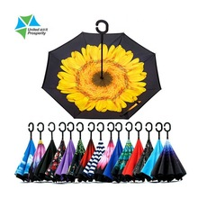 New design inverted custom print reverse umbrella double layer in China