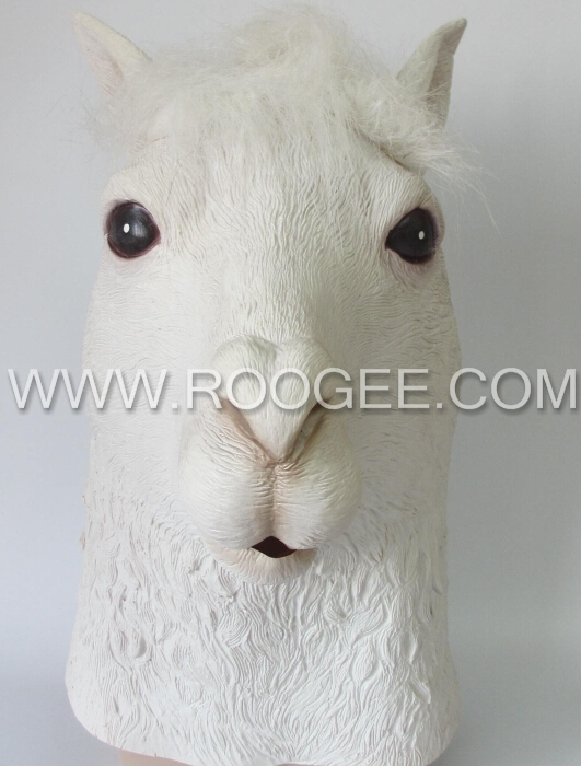 Funny & Soft Full Head Animal Alpaca Head Mask Costume Party Cosplay Latex Mask