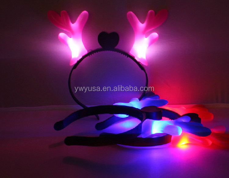 Wholesale led fashion antler headdress Flash Antler LED hairband Headwear for Kids