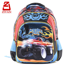 Contrast color side pockets wholesale economic school backpacks cool cartoon truck comfortable new trendy boys school bag
