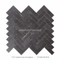 "1""*3"" Graphite Gray Marble Herringbone Tile Mosaic Tiles for Bathroom"