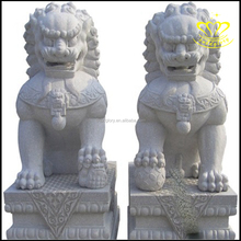 Garden decor naturla stone carving white marble foo dog lion statues sale