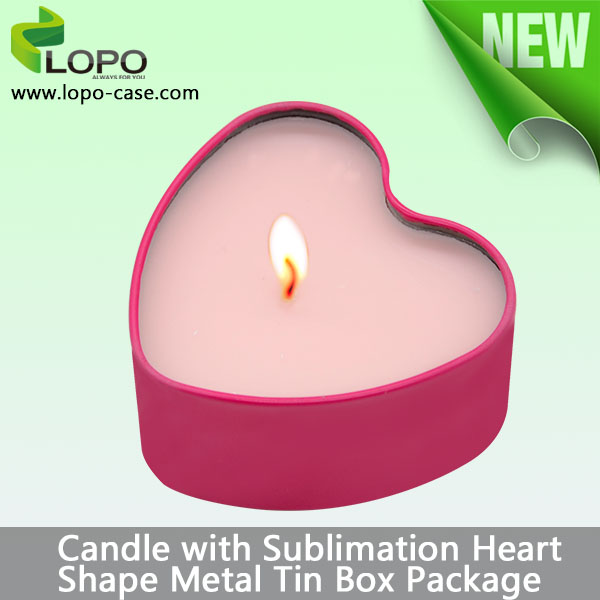 Sublimation blank metal tin box as candle holder with rose scent