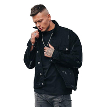 Top quality OEM custom wholesale two pocket long sleeve distressed denim jacket for men