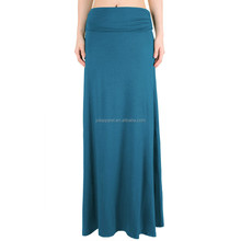 Elastic Waist long Maxi Skirt Ankle skirt plain color