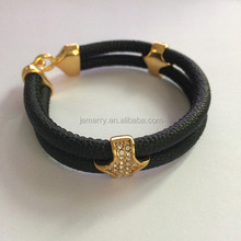 Punk Rock Style Black Stingray PU Leather Bracelet Men Wholesale Factory Price New Arrivals Triangle Clasp