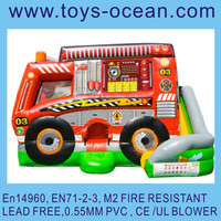 inflatable fire fighting truck jumping cmobo with slide
