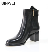 black color real leather material woman fashion high heel boots cheap price top quality shoes factory in guangzhou