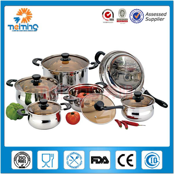 wholesale 12pcs stainless steel cookware set with bakelite handle