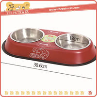 Stainless steel water bowl ,CC066 personalized ceramic bowl for dog , double dinner bowls with stand