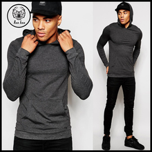 2015 Long Sleeve Light Weight Cotton Extreme Skinny Muscle Fitted Fleece Hoodie In Charcoal with Kangaroo Pocket
