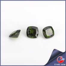 fashion design square cutting green stones natural diopside