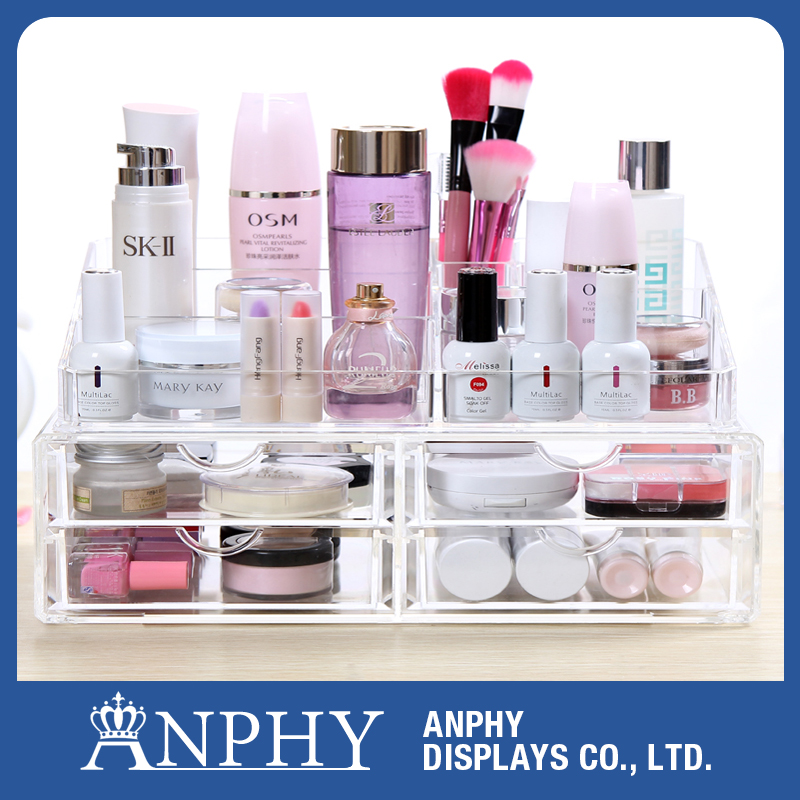 C122 ANPHY Fashion Luxury Cute Clear Plastic Drawers Cosmetic Storage Organizer