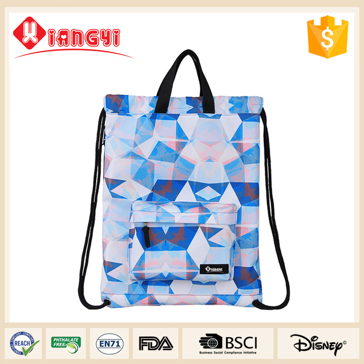 European Style cheap nylon drawstring bag with zipper pocket