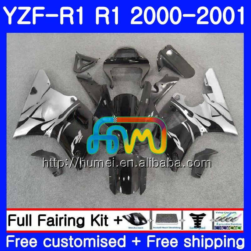Bodywork For YAMAHA YZF 1000 gloss black YZF-<strong>R1</strong> 2000 <strong>2001</strong> Body 98HM50 YZF1000 YZF R 1 YZFR1 00 01 YZF-1000 YZF <strong>R1</strong> 00 01 Fairing