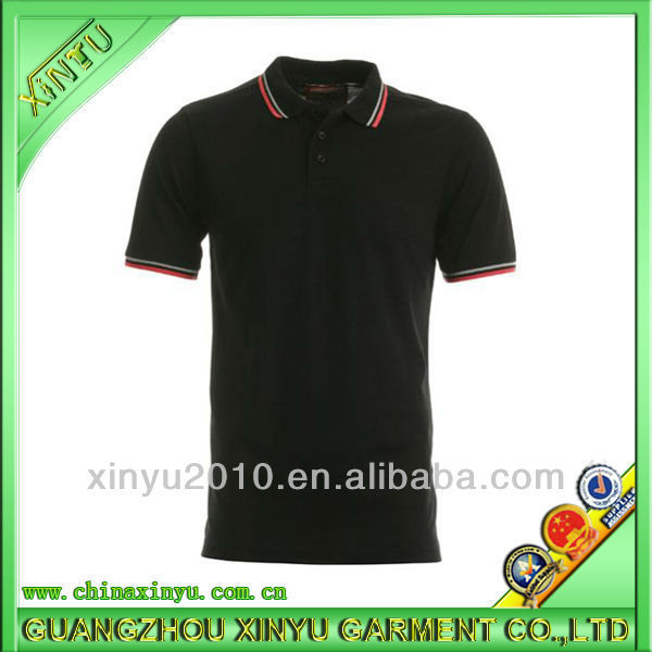 custom 100% cotton men's black uniform polo shirts with embroidered