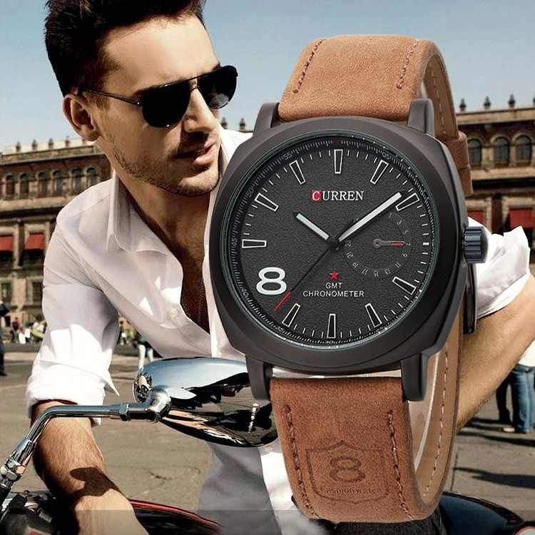 Curren brand Casual Fashion Japanese movement quartz watches relojes hombre man watch luxury genuine leather strap sports watch