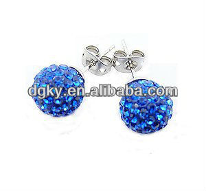 10 mm Sterling Silver Royal Blue Crystal Ball Stud Shamballa Earrings