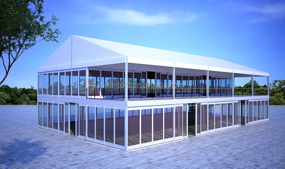 200 person Strong aluminium double deck tent two story tent