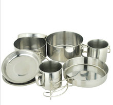 Made In China camping traveling stainless steel cookware pot 8 pcs set