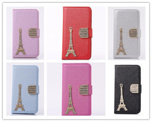 Metal Tower Style Silk Leather Wallet Bling Shinny Diamond Flip Case for iphone 5 5S