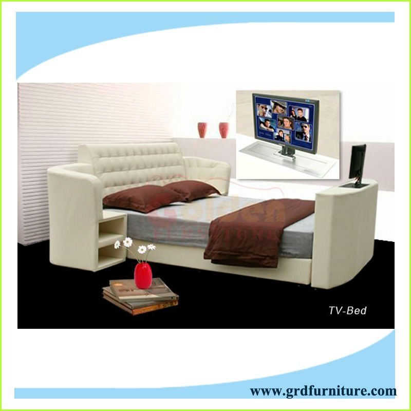 Moderno ascensore letto tv in pelle con stand in pelle - Tv in camera da letto ...