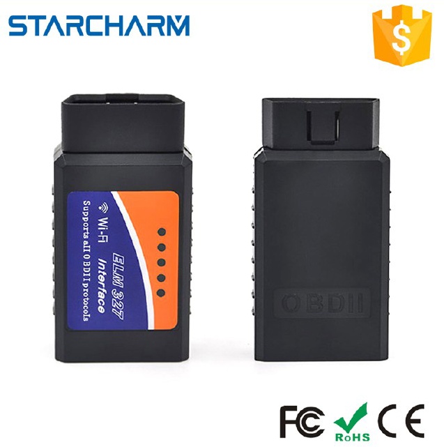 StarCharm support all OBDII protocols passed CE FCC ROHS ELM327 Wifi OBD2 Connectors with Android iOS