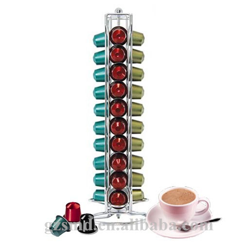 40 Capacity Chrome Wire Rotating Nespresso Coffee Capsule Holder