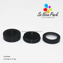Black round cosmetic compact packaging