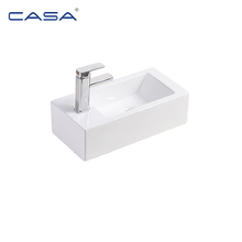 China Sanitary Ware Bathroom White Ceramic Wall-Hung Basin with Faucet Hole