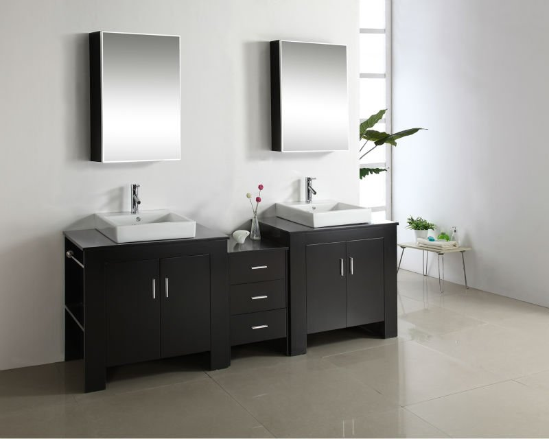 "Virtu USA MD-7090 90"" Tavian Double Sinik Bathroom Vanity Cabinet"