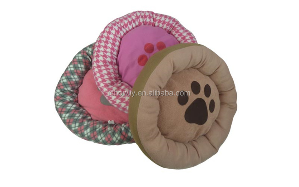 High quality super soft pet rounded fleece cushion bed/ cozy pet bed with paw embroidery