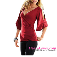 fast delivery Wholesale Ladies V Neck Slit Sleeve new model blouse
