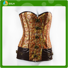 Faux Leather Steel Boned Slimming Waist Corset Busk