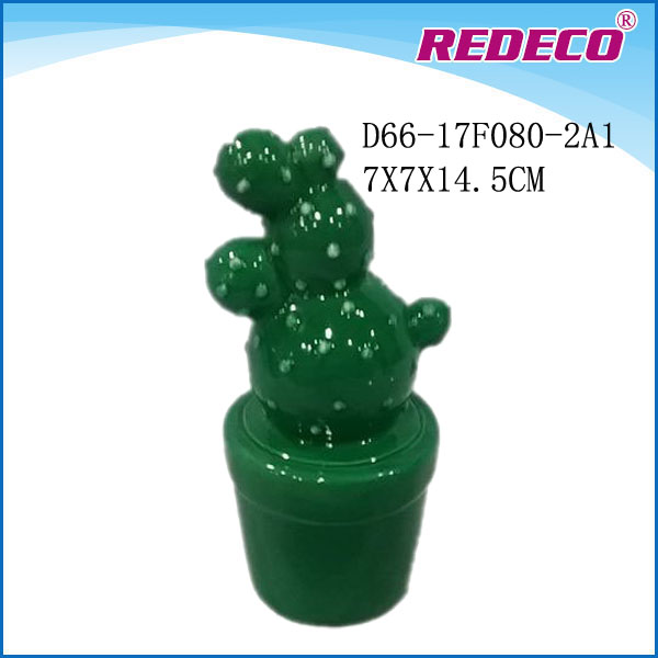 Green Ceramic Artificial Cactus For Home Decoration